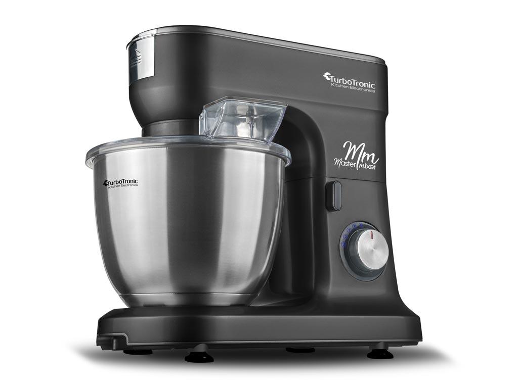 Κουζινομηχανή μίξερ ζαχαροπλαστικής max 1500W με κάδο 6,5 λίτρα, μπολ από Ανοξείδωτο ατσάλι και 3 εξαρτήματα Υψηλής Ποιότητας, 49x43x32cm, Turbotronic TT-015 Μαύρο - TurboTronic