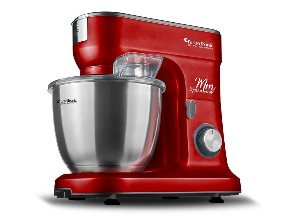 Κουζινομηχανή μίξερ ζαχαροπλαστικής max 1500W με κάδο 6,5 λίτρα, μπολ από Ανοξείδωτο ατσάλι και 3 εξαρτήματα Υψηλής Ποιότητας, 49x43x32cm, Turbotronic TT-015 Κόκκινο - TurboTronic