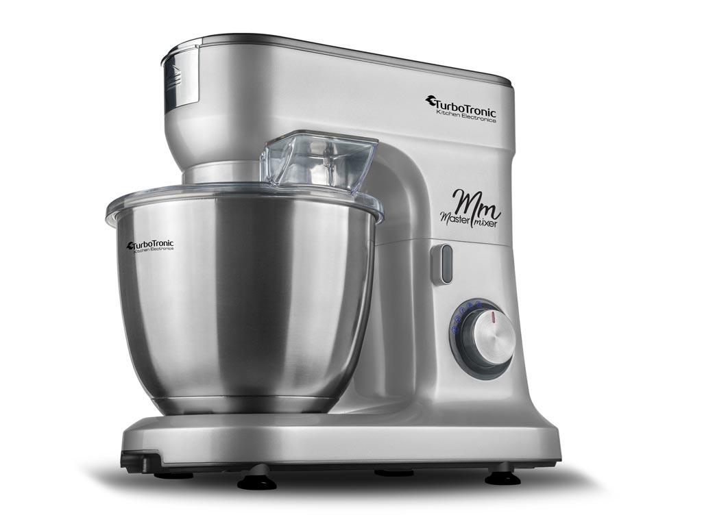 Κουζινομηχανή μίξερ ζαχαροπλαστικής max 1500W με κάδο 6,5 λίτρα, μπολ από Ανοξείδωτο ατσάλι και 3 εξαρτήματα Υψηλής Ποιότητας, 49x43x32cm, Turbotronic TT-015 Ασημί - TurboTronic
