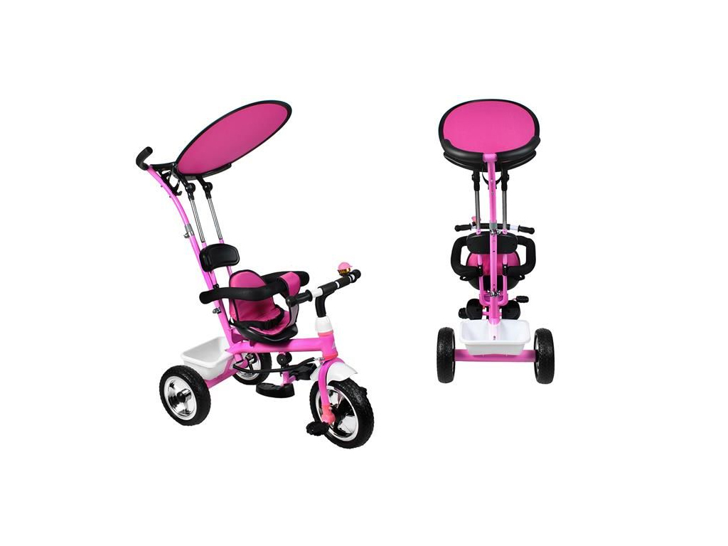 db2dd11366d Παιδικό τρίκυκλο ποδήλατο με προσαρμόσιμη Τέντα προστασίας για τον Ήλιο και  καλάθι μεταφοράς για ηλικίες 3+, σε Ροζ Χρώ..