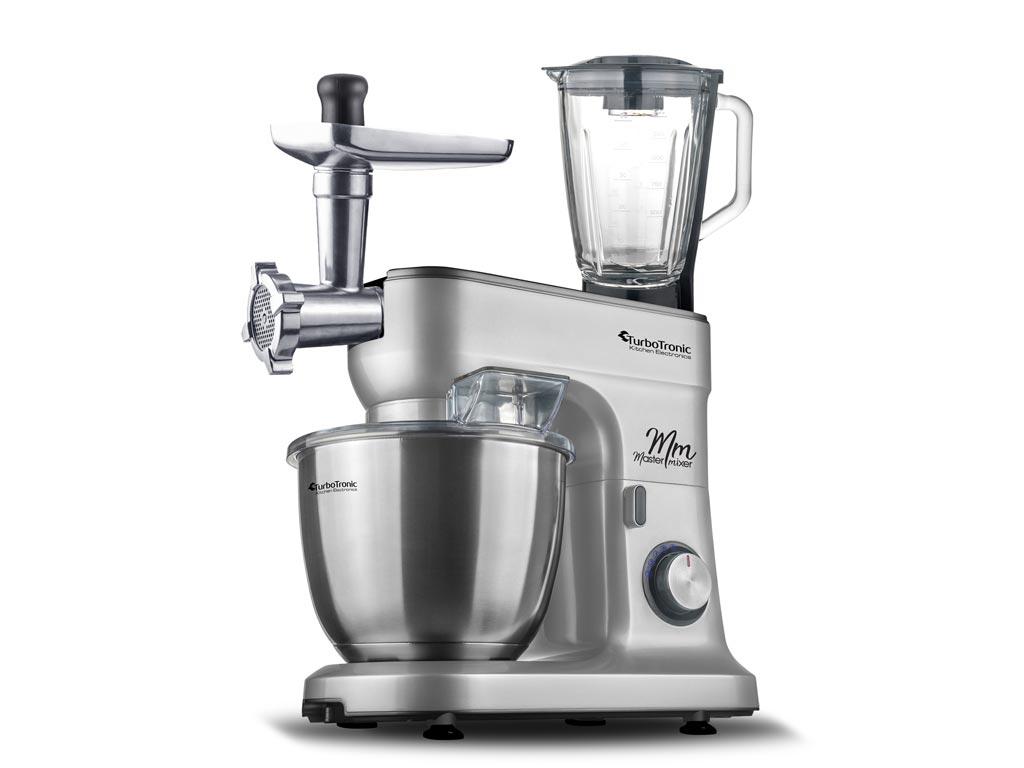 Κουζινομηχανή Μίξερ max1500W με Κάδο 6.5lt, Γυάλινο μπλέντερ 1.5lt, μηχανή κιμά και επιπλέον 3 αξεσουάρ, TurboTronic StandMixer TT-016 Ασημί - TurboTronic