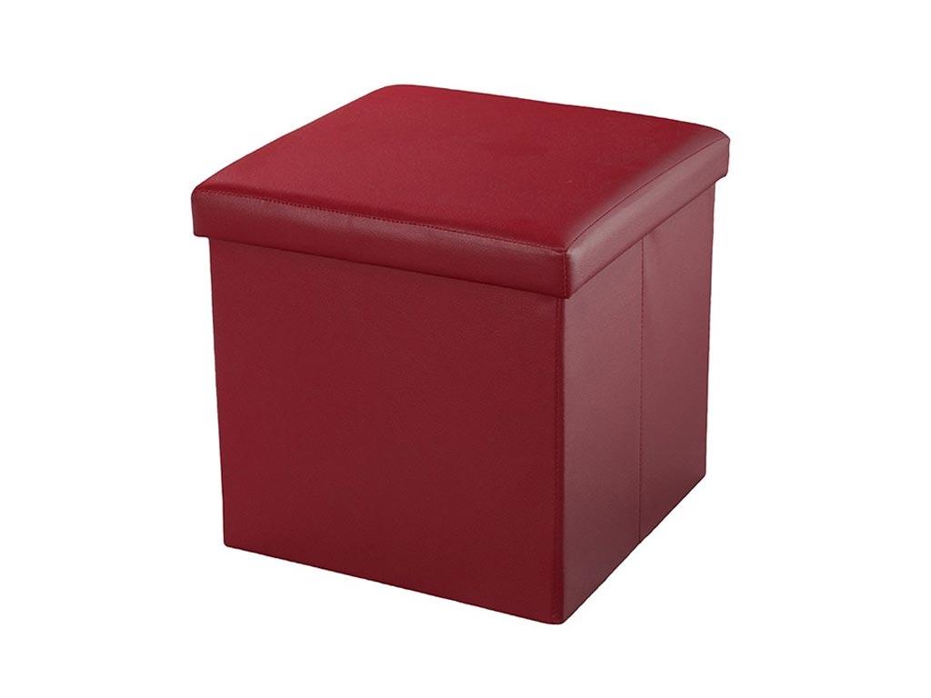 Σκαμπό Πτυσσόμενο με Αποθηκευτικό Χώρο σε χρώμα Burgundy από υψηλής ποιότητας Eco Δέρμα, 38x38x38cm, Muhler Eco Red - Muhler