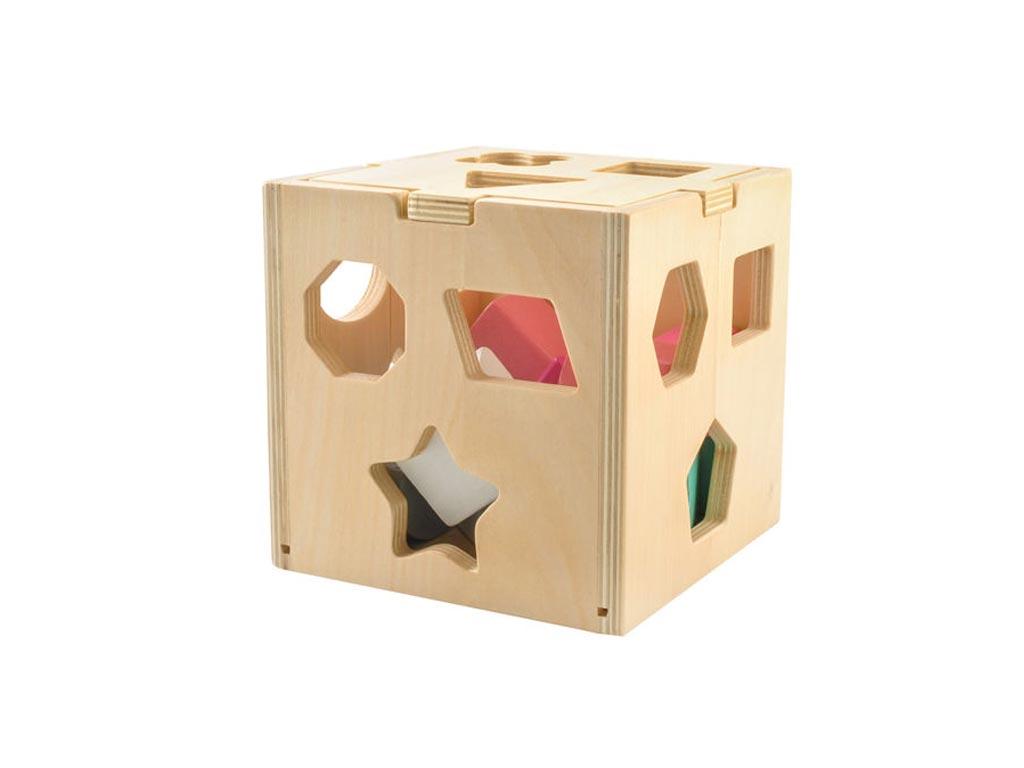 Ξύλινος Κύβος Εκπαιδευτικό Παιχνίδι με τουβλάκια, 14x14x14cm - Iso Trade παιχνίδια   εκπαιδευτικά παιχνίδια