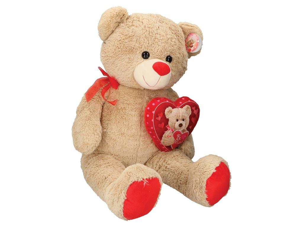 Λούτρινο Παιχνίδι Αρκουδάκι 72cm με κόκκινη καρδούλα, 72x38x20cm, Eddy Toys 0154 παιχνίδια   κούκλες και λούτρινα