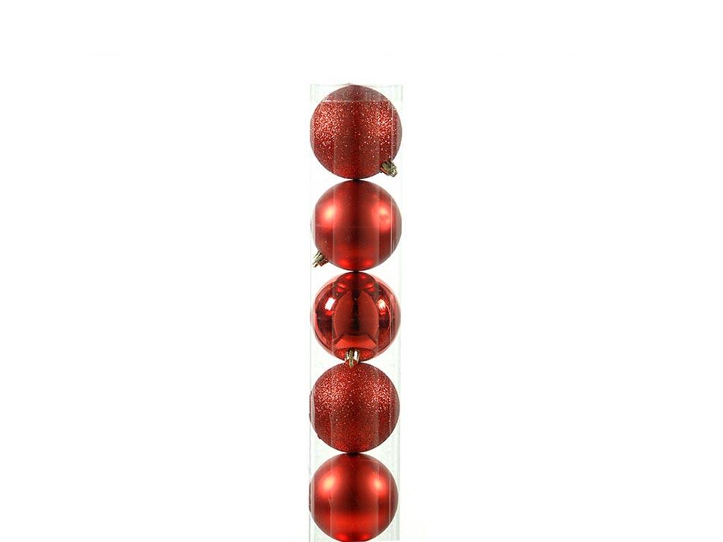 Χριστουγεννιάτικες Μπάλες Κόκκινες 3 σχέδια, Σετ των 5 τεμαχίων, Μεγέθους 7cm - Cb