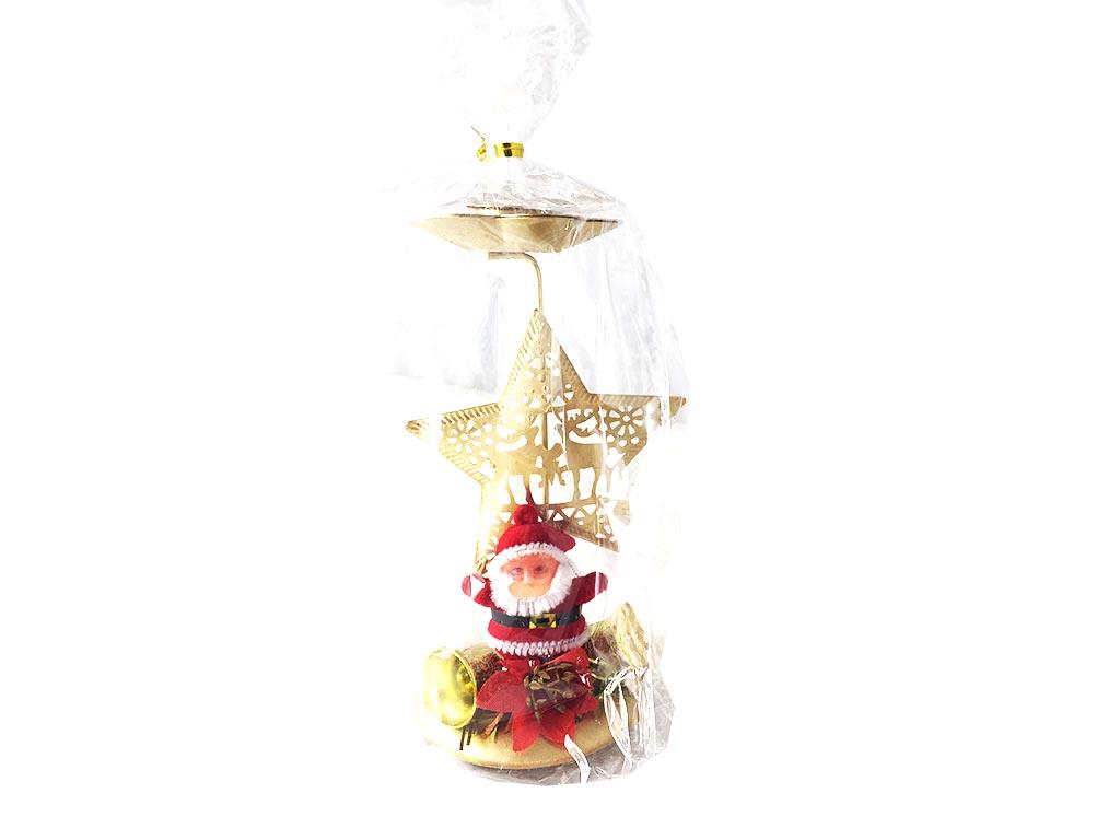 Χριστουγεννιάτικο Διακοσμητικό Κηροπήγιο με Αστέρι και Άγιο Βασίλη σε Χρυσό χρώμα - Cb