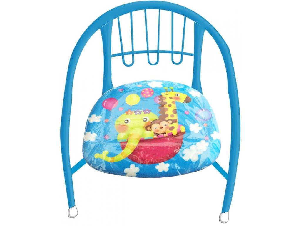 Παιδικό Μεταλλικό καρεκλάκι κάθισμα, διαστάσεων 36x34x34 cm, με μαλακό κάθισμα σε Μπλε χρώμα με Ζωάκια - Cb