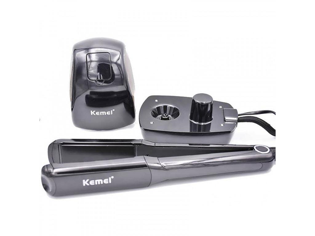 Kemei Ηλεκτρικό Σίδερο Μαλλιών Ισιωτικό με γεννήτρια ατμού για μπούκλες, Kemei KM-9090 - Cb