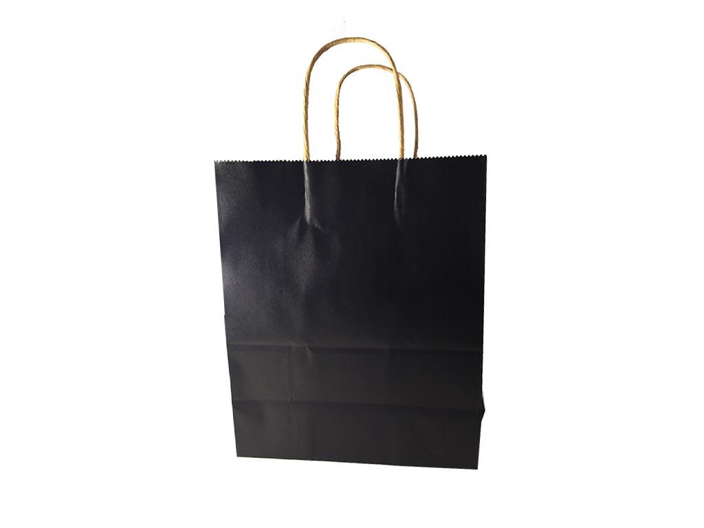 Χάρτινη Σακούλα Δώρου Σε 3 Χρώματα, Με Στριφτό Χερούλι, Διαστάσεων 27x22x11 cm Μαύρο - Cb