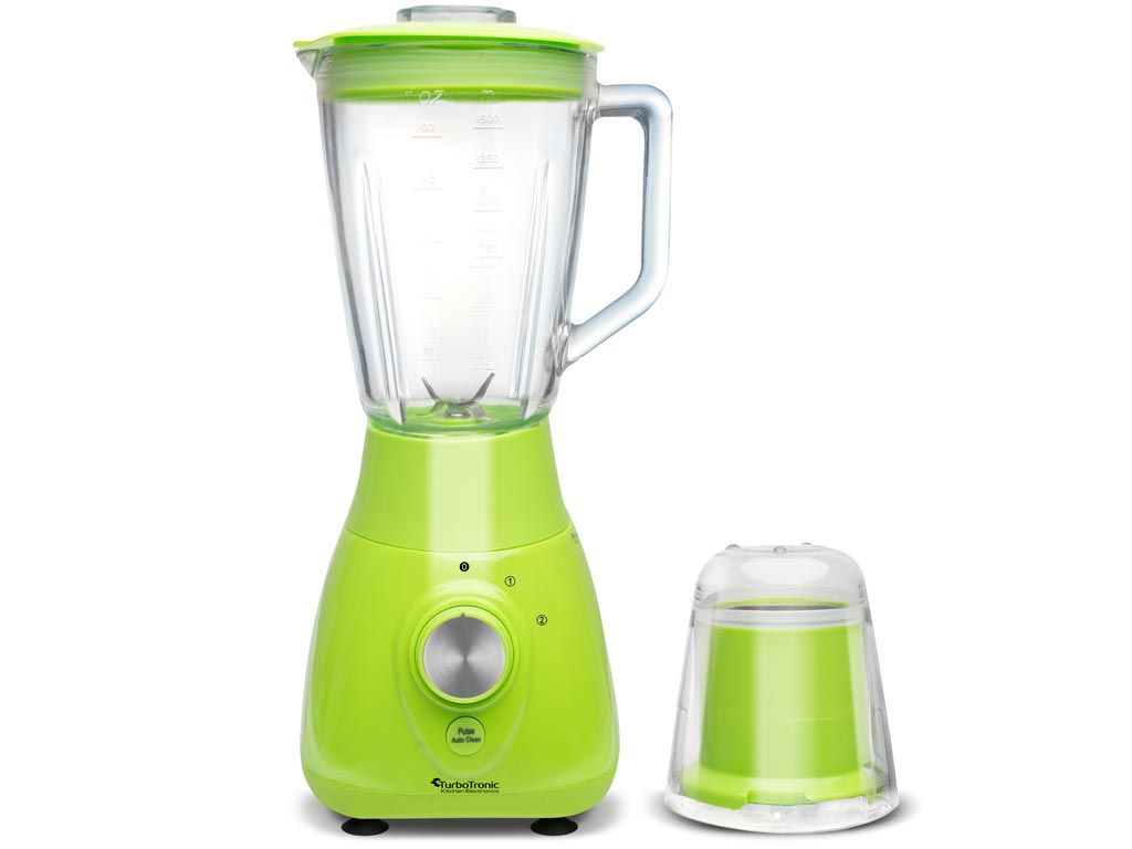 TurboTronic Έξυπνος Πολυκόφτης Μπλέντερ (Blender) 800W για Smoothies με Γυάλινο δοχείο 1,5Lt & Μύλο για Άλεσμα καφέ, TT-BG3 Χρώμα Πράσινο - TurboTronic