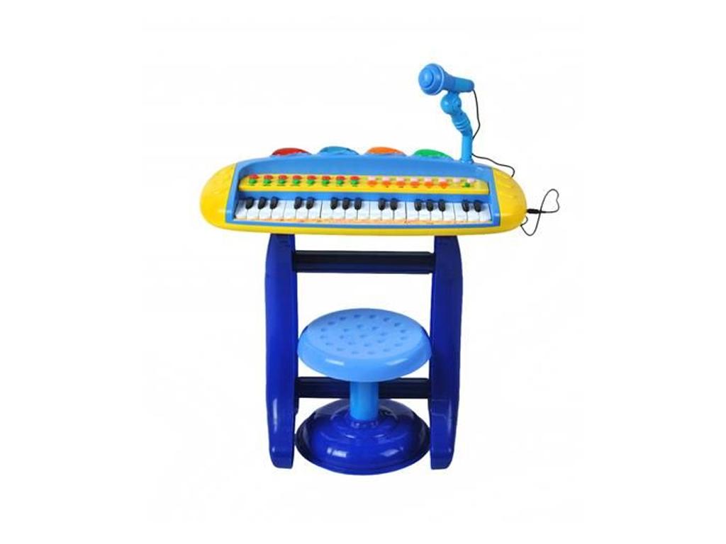 Παιδικό επιτραπέζιο πιάνο με σκαμπό, μικρόφωνο και 2 σειρές πλήκτρα, Πιάνου με 8 διαφορετικούς ήχους και ήχους ζώων, διαστάσεων 53x63x28 εκατοστά. - Cb