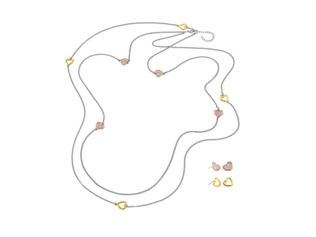 Pierre Cardin PXN6422 Σετ 1 Κολιέ με 2 Ζευγάρια Σκουλαρίκια από κράμα χρυσού, ρό γυναικεία αξεσουάρ και κοσμήματα   γυναικεία κολιέ