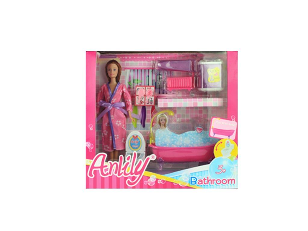 Κούκλα με το Μπάνιο της σε 2 Χρωματισμούς Μελαχρινή - Cb παιχνίδια   κούκλες και λούτρινα