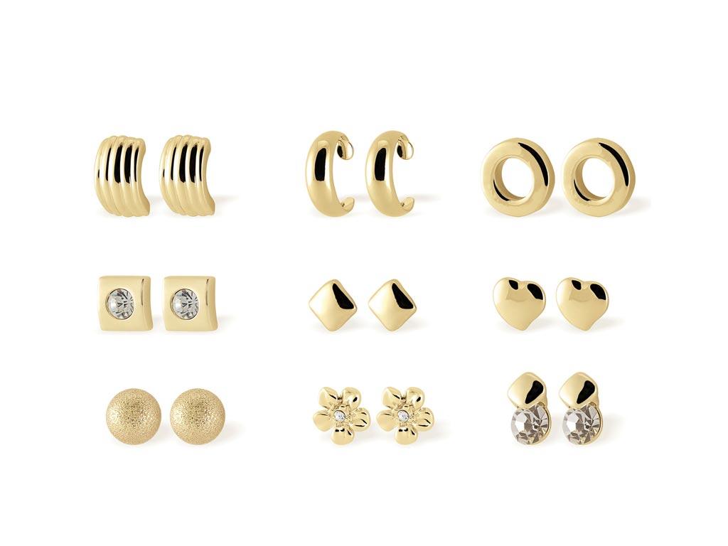 Pierre Cardin PXE90075A Σετ συλλογή Κοσμημάτων 9 Σκουλαρίκια από κράμα χρυσού κα γυναικεία αξεσουάρ και κοσμήματα   γυναικεία σκουλαρίκια