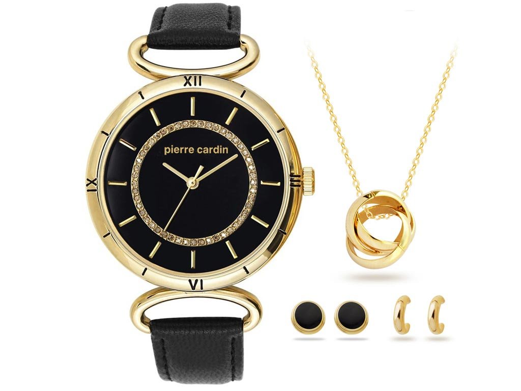 Pierre Cardin PCX6308L268 Σετ Κοσμημάτων από κράμα χρυσού, Κολιέ, 2 Σετ σκουλαρί γυναικεία αξεσουάρ και κοσμήματα   γυναικεία κολιέ