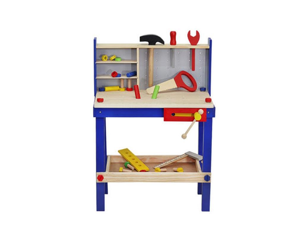 Ξύλινο Παιδικό Παιχνίδι Μίμησης, Εργαστήρι ξυλουργικής με Αξεσουάρ για ηλικίες 3 παιχνίδια   παίζοντας τον μεγαλύτερο