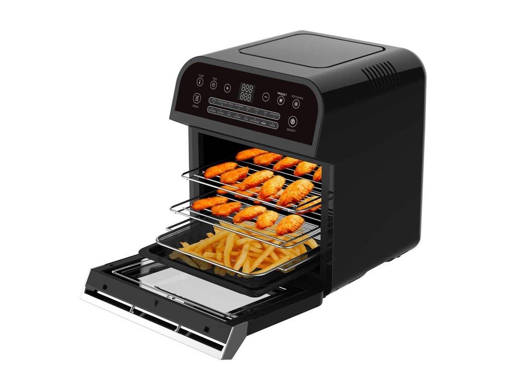 Cuisinier Deluxe Φριτέζα Αέρος για Υγιεινό μαγείρεμα 12L, 1600W με 16 διαφορετικά προγράμματα μαγειρέματος σε μαύρο χρώμα - Cuisinier Deluxe