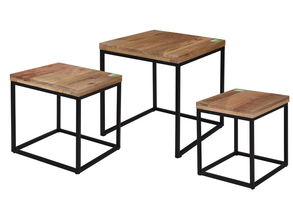 Σετ τραπεζάκια Σαλονιού 3 τεμαχίων Side Table με μεταλλική βάση και ξύλινη επιφάνεια - Cb
