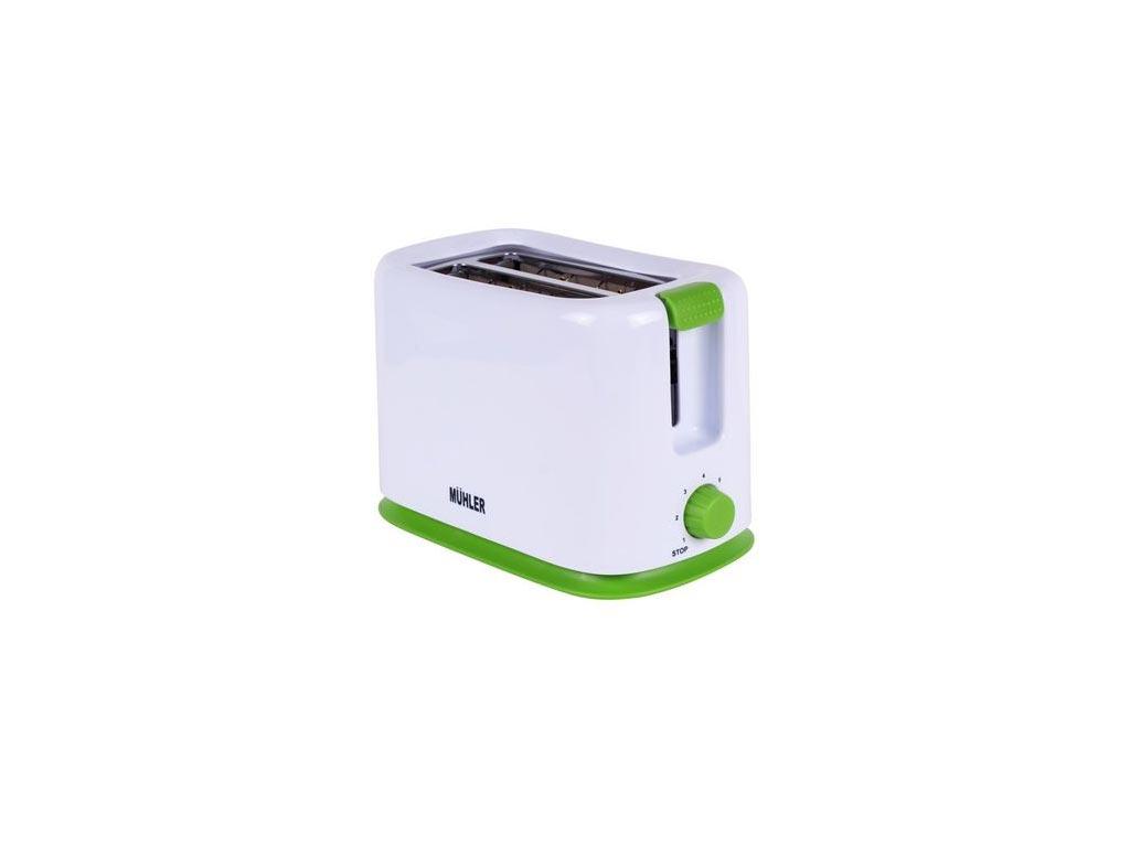 Muhler Φρυγανιέρα 700W με 2 θέσεις ψησίματος σε Λευκό χρώμα και πράσινες λεπτομέρειες, MT-959 - Muhler
