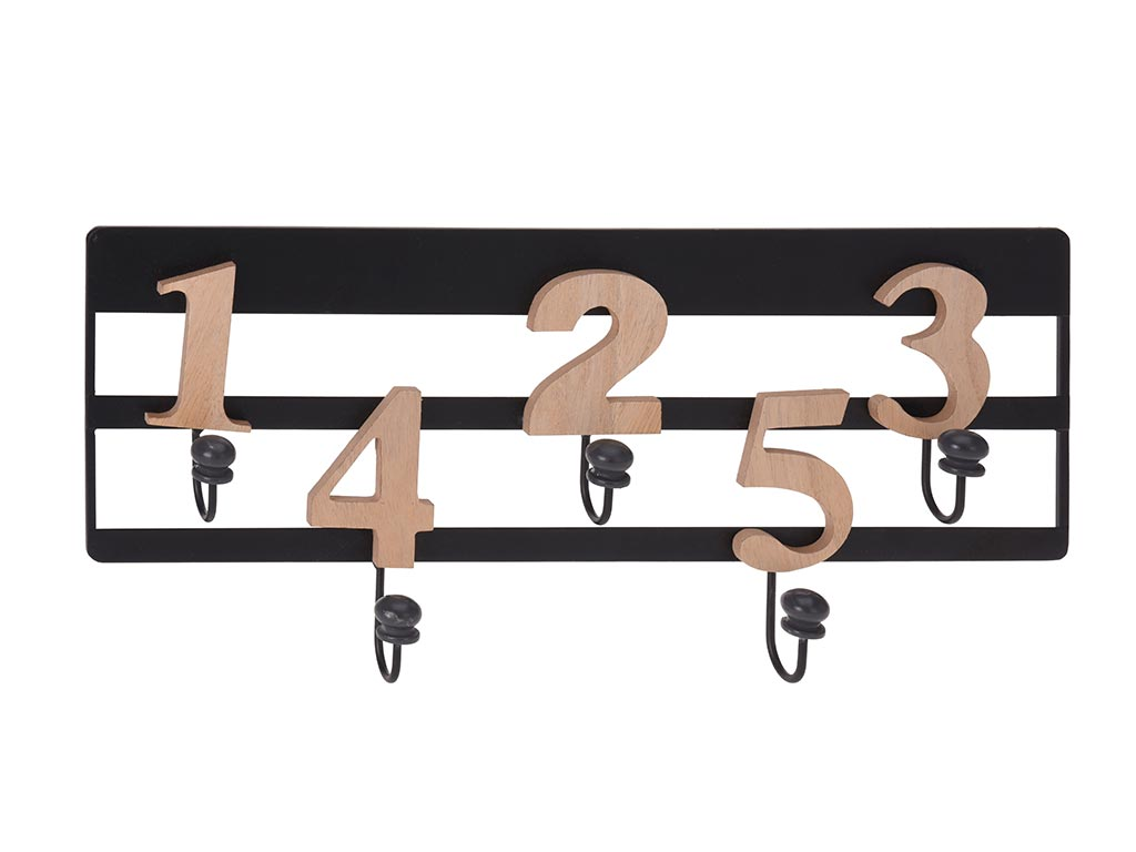 Κρεμάστρα Τοίχου Μεταλλική και ξύλινους Αριθμούς με 5 γάντζους, Διαστάσεων 42x19 έπιπλα   καλόγεροι και κρεμάστρες