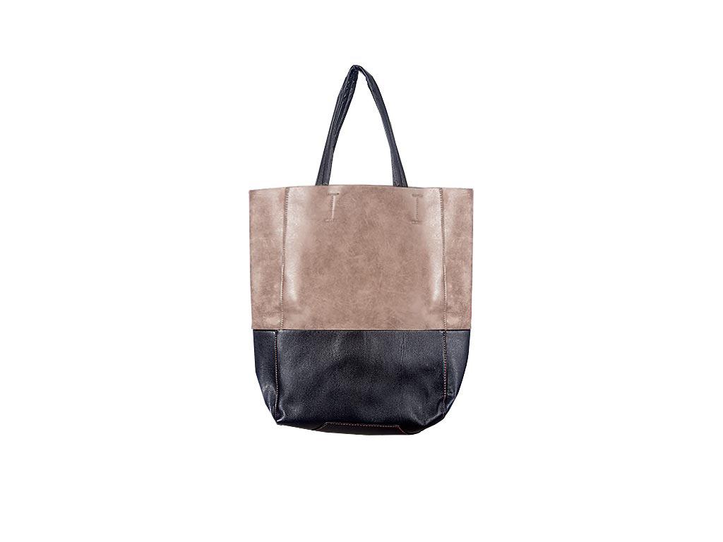 Γυναικεία τσάντα Ώμου δίχρωμη, Shopping Bag διαστάσεων 40x30x12 εκατοστα. Καφέ - αξεσούαρ   τσάντες και πορτοφόλια