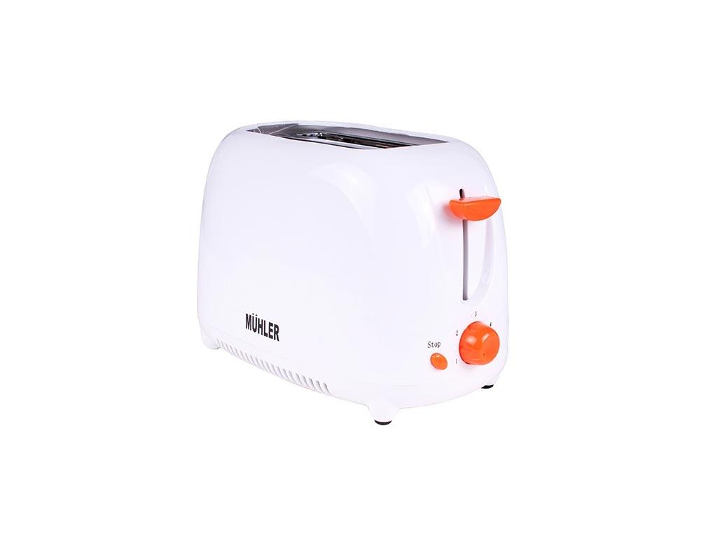 Muhler Φρυγανιέρα 750W με 2 θέσεις ψησίματος σε Λευκό χρώμα και Πορτοκαλί λεπτομέρειες, MT-779 - Muhler