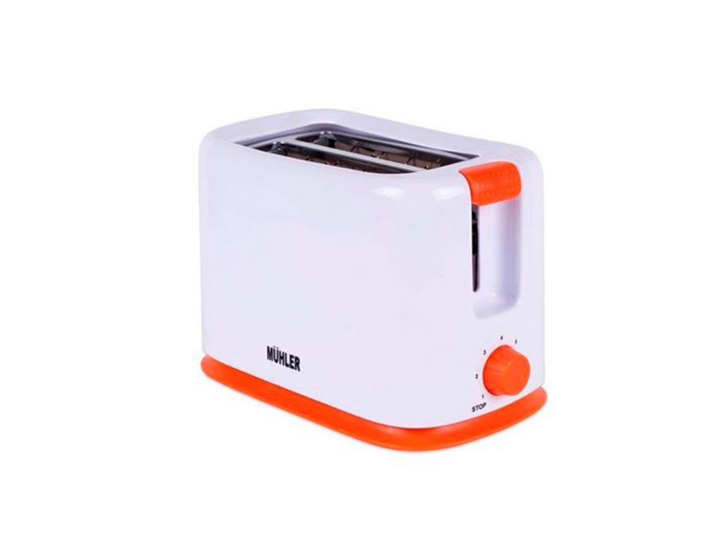 Muhler Φρυγανιέρα 700W με 2 θέσεις ψησίματος σε Λευκό χρώμα και Πορτοκαλί λεπτομέρειες, MT-959 - Muhler