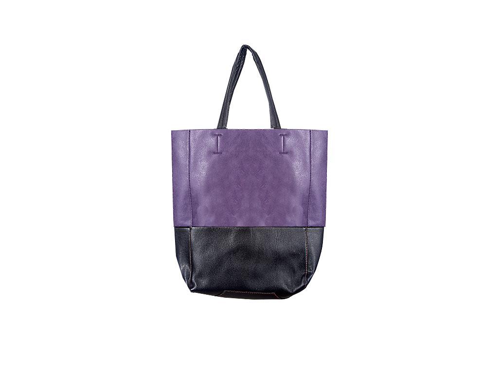 Γυναικεία τσάντα Ώμου δίχρωμη, Shopping Bag διαστάσεων 40x30x12 εκατοστα. Μωβ -  αξεσούαρ   τσάντες και πορτοφόλια