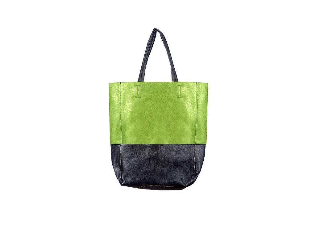 Γυναικεία τσάντα Ώμου δίχρωμη, Shopping Bag διαστάσεων 40x30x12 εκατοστα. Πράσιν αξεσούαρ   τσάντες και πορτοφόλια