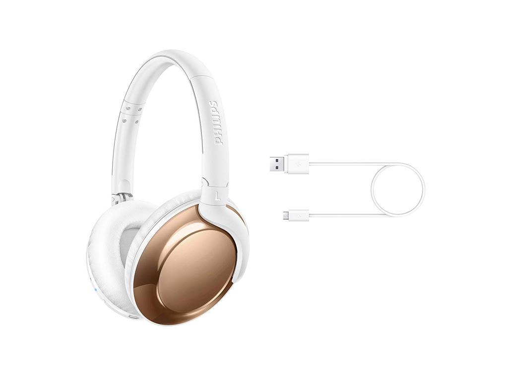 Philips Ασύρματα Bluetooth Ακουστικά Over-Ear 103dB σε Λευκό Χρυσό χρώμα, SHB480 ήχος   ακουστικά κεφαλής