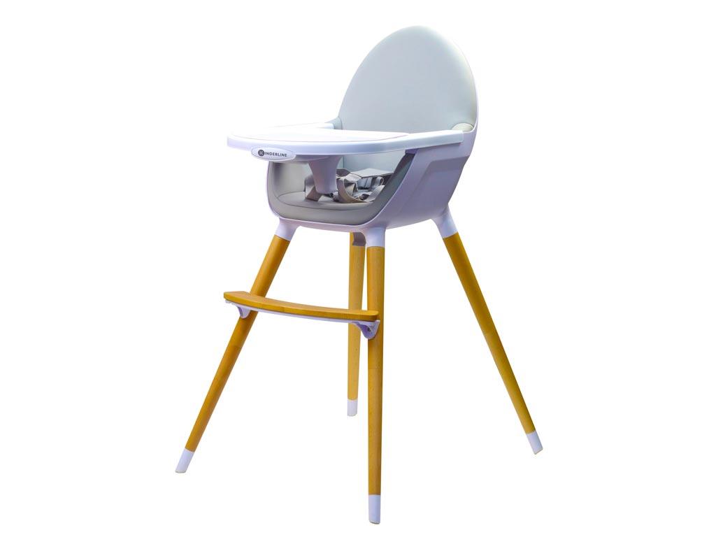 Παιδικό Κάθισμα Φαγητού 2 σε 1 μέγιστου βάρους 17Kg σε Ανοιχτό Γκρι χρώμα, 58x65x97cm, Kinderline Timber Highchair - Kinderline