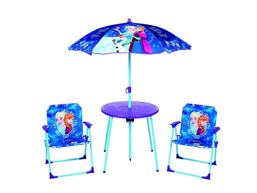 Disney Frozen Σετ Τραπέζι με Ομπρέλα και δύο καρέκλες με θέμα Frozen Anna, Elsa & Olaf κατάλληλο για εξωτερικό χώρο - Disney