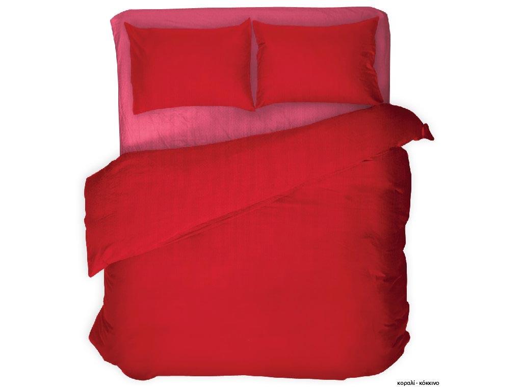 Σετ Υπέρδιπλα Σεντόνια και 2 Μαξιλαροθήκες Μονόχρωμα Κομποζέ Βαμβακοσατέν σε διάφορα χρώματα 220x240cm Κοραλί - Κόκκινο - Cb