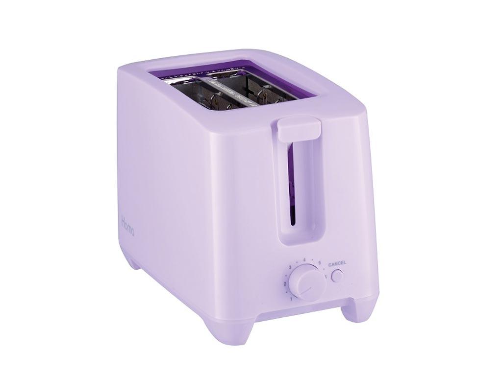 Τοστιέρα Φρυγανιέρα max750W με Αντικολλητικές πλάκες και δύο θέσεις για φέτες ψωμί σε Χρώμα Βιολετί, Homa - Homa