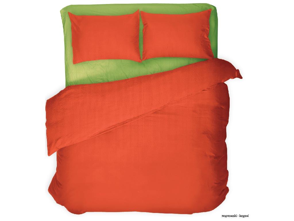 Σετ Υπέρδιπλα Σεντόνια και 2 Μαξιλαροθήκες Μονόχρωμα Κομποζέ Βαμβακοσατέν σε διάφορα χρώματα 220x240cm Πορτοκαλί - Λαχανί - Cb