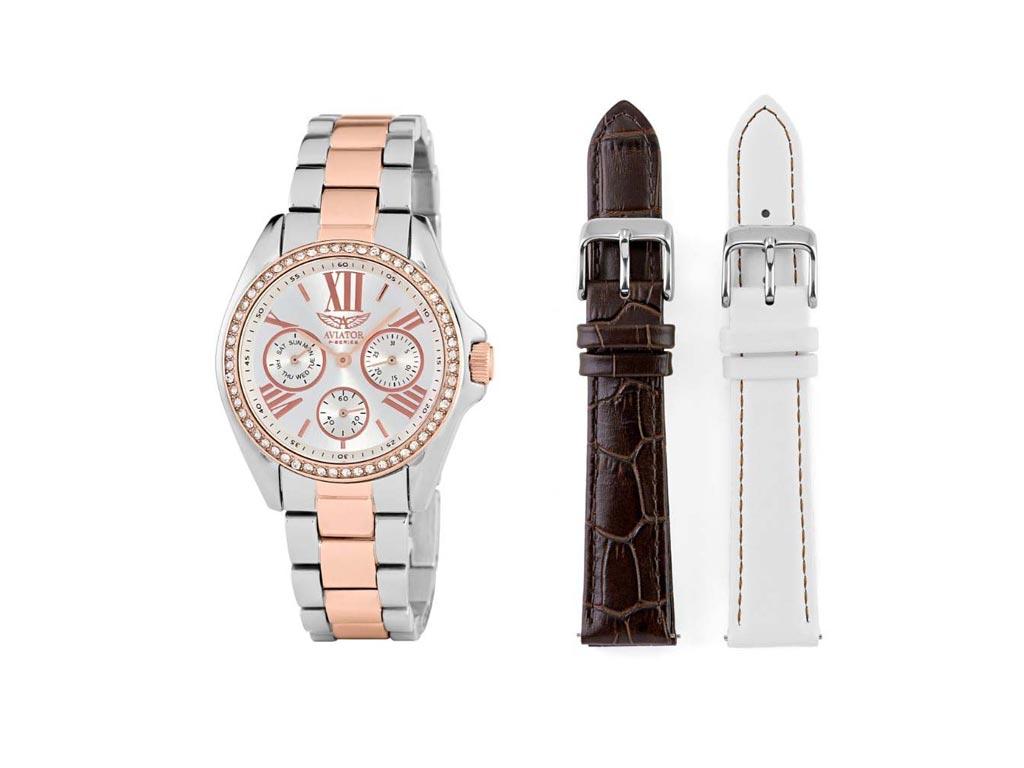 Aviator Γυναικείο Ρολόι χειρός με Λευκό καντράν και ζιργκόν πέτρες, Ασημί Κάσα,  ρολόγια χειρός   γυναικεία ρολόγια χειρός