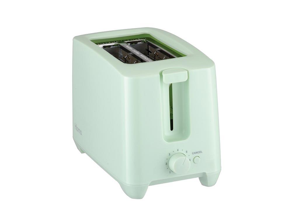 Τοστιέρα Φρυγανιέρα max750W με Αντικολλητικές πλάκες και δύο θέσεις για φέτες ψωμί σε Χρώμα Μέντας, Homa - Homa