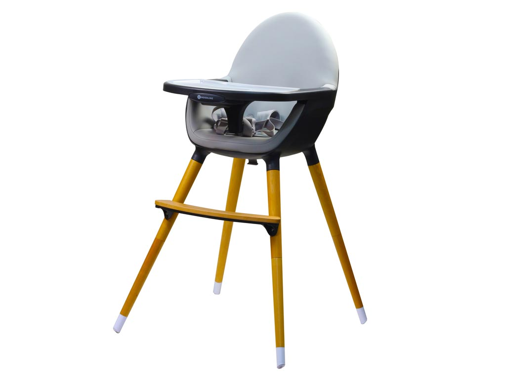 Παιδικό Κάθισμα Φαγητού 2 σε 1 μέγιστου βάρους 17Kg σε Σκούρο Γκρι χρώμα, 58x65x97cm, Kinderline Timber Highchair - Kinderline