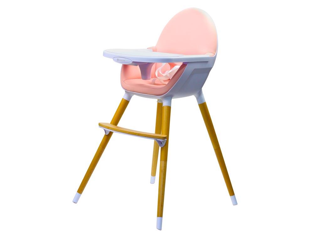 Παιδικό Κάθισμα Φαγητού 2 σε 1 μέγιστου βάρους 17Kg σε Ροζ χρώμα, 58x65x97cm, Kinderline Timber Highchair - Kinderline