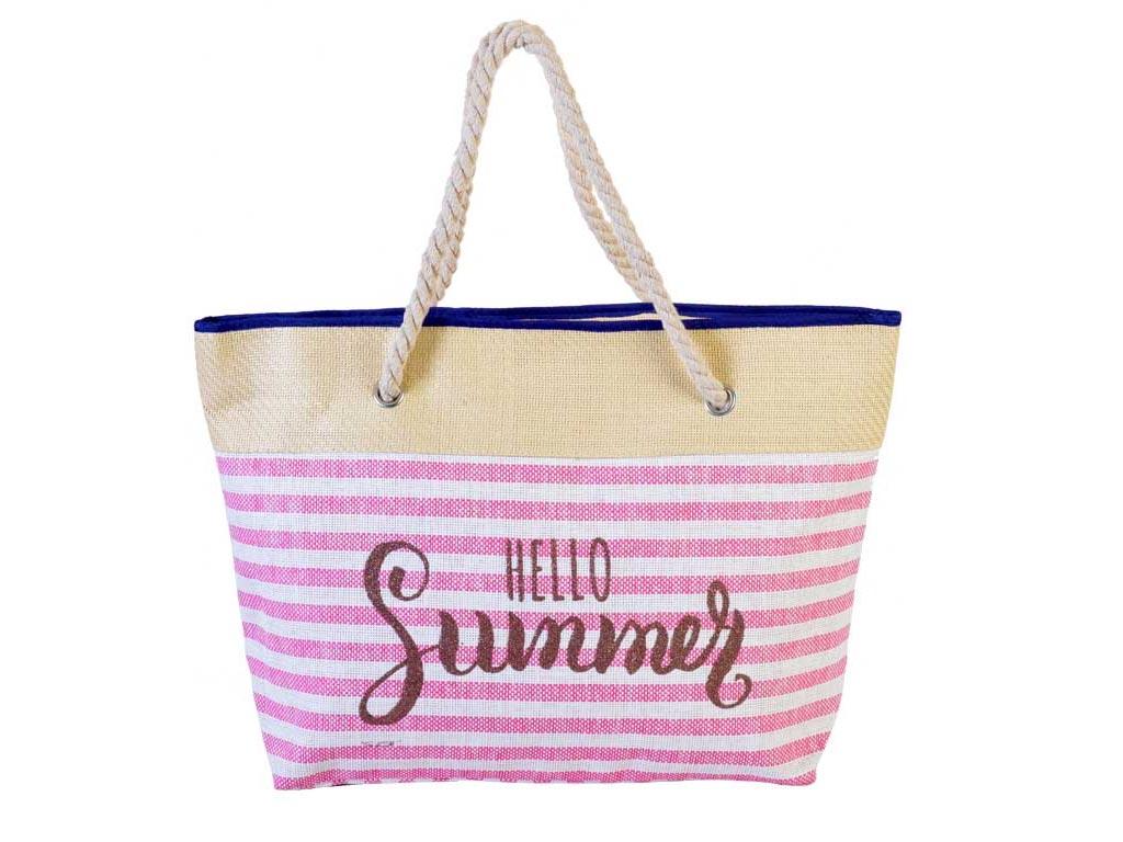 Ψάθινη Γυναικεία Τσάντα Θαλάσσης με ρίγες Hello Summer, Διαστάσεων 57.5x14x37 cm αξεσούαρ   τσάντες και πορτοφόλια