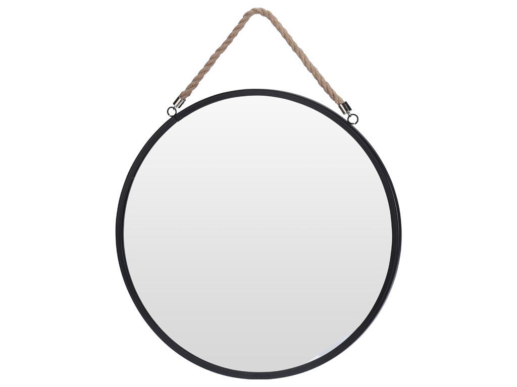 Διακοσμητικός Επιτοίχιος Στρογγυλός Καθρέφτης με Σχοινί διαμέτρου 41cm - Cb