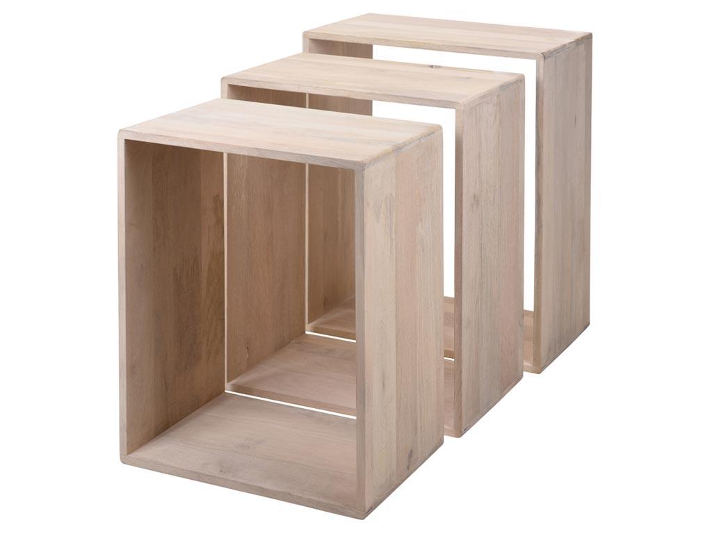 Σετ Μοντέρνα Ξύλινα Τραπεζάκια 3 τεμαχίων σε Ανοιχτό χρώμα ξύλου, 50x30.5x65 cm - Cb