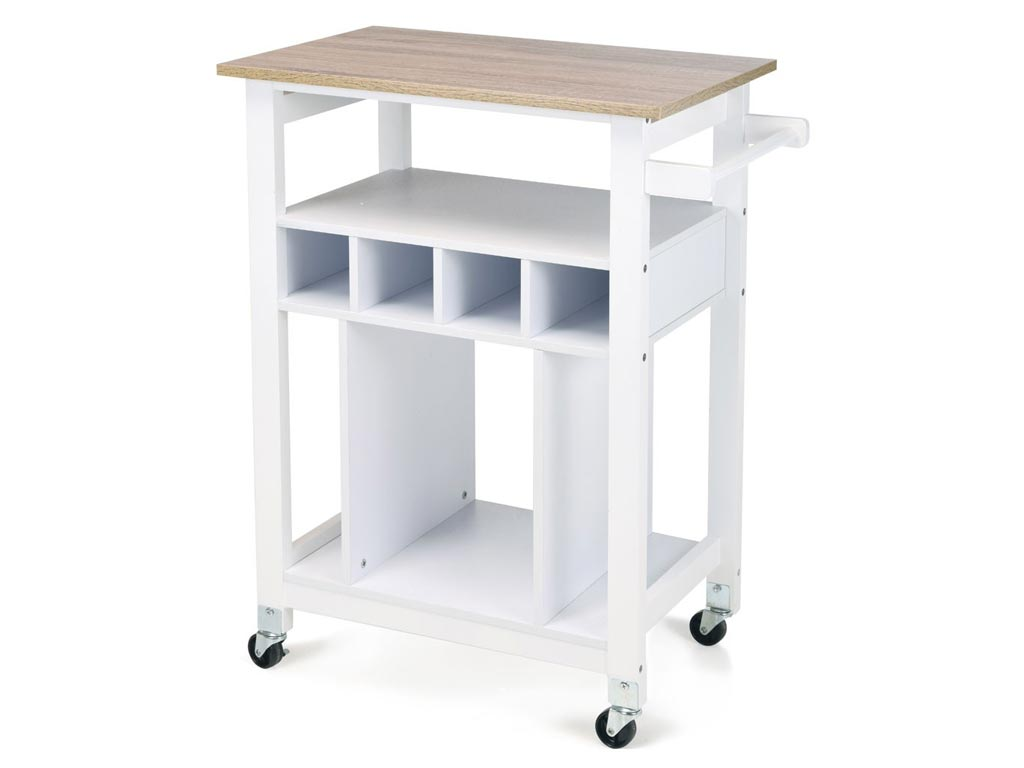 Ξύλινο Καρότσι Κουζίνας Οργανωτής Τρόλει με Ράφια και Ρόδες σε Λευκό χρώμα, 85x6 κουζίνα   οργανωτές τρόλει κουζίνας