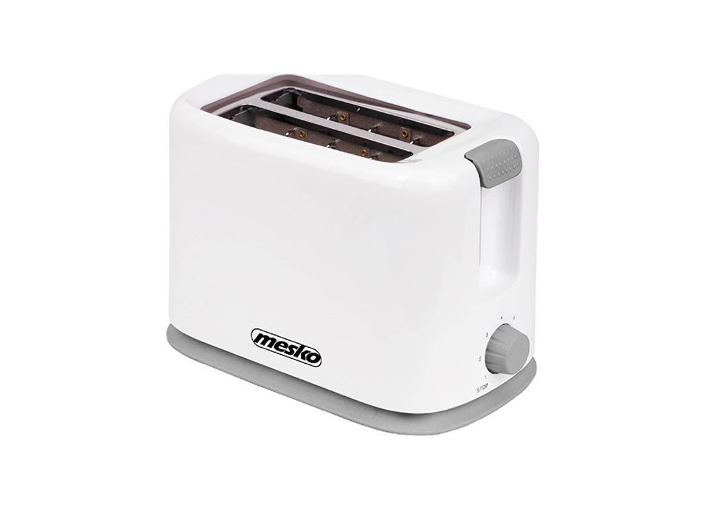 Mesko Φρυγανιέρα max750W 2 θέσεων με Ρυθμιζόμενη Θερμοκρασία σε Λευκό Γκρι χρώμα - Mesko