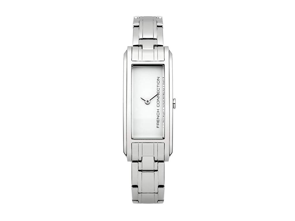 French Connection Γυναικείο Ρολόι Χειρός με Λευκό Ορθογώνιο καντράν 18mm, Κούμπωμα ασφαλείας και δέσιμο Μπρασελέ από Ανοξείδωτο Ατσάλι, FC1181SM