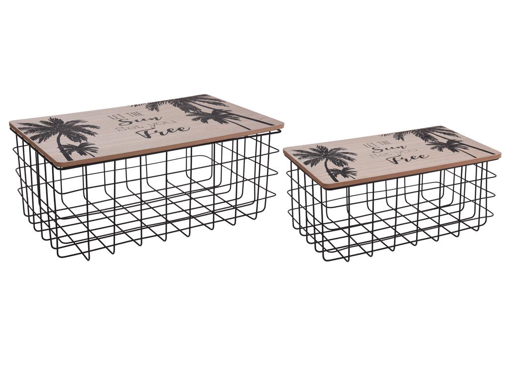 Μεταλλικά καλάθια αποθήκευσης με ξύλινο καπάκι κατάλληλο για εσωτερική διακόσμησ έπιπλα   μπαούλα και κουτιά αποθήκευσης