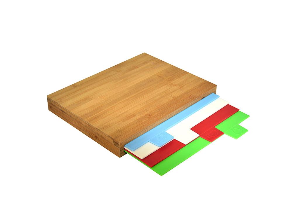Ξύλινη επιφάνεια κοπής Bamboo με 4 διαφορετικές extra πλαστικές επιφάνειες κοπής για διαφορετικά είδη τροφίμων, Jocca 1675 - JOCCA home & life