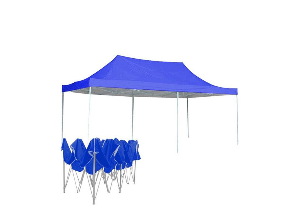 Γίγας Gazebo Πτυσσόμενο Κιόσκι Partytent Τέντα με Μεταλλικό σκελετό Τετράγωνο Αδιάβροχο σε Μπλε Χρώμα, 3x6x3.5 μέτρα - Cb