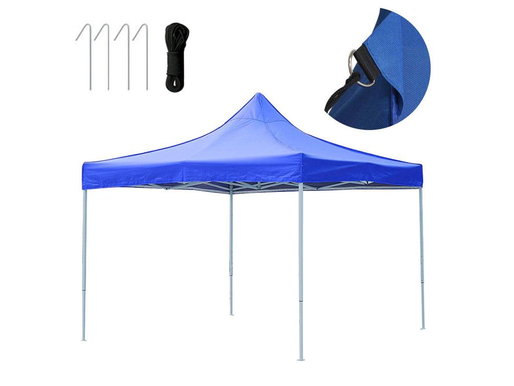 Gazebo Πτυσσόμενο Κιόσκι Τέντα Partytent με Μεταλλικό σκελετό Τετράγωνο Αδιάβροχο σε Μπλε Χρώμα, 3x4.5x3 μέτρα - Cb