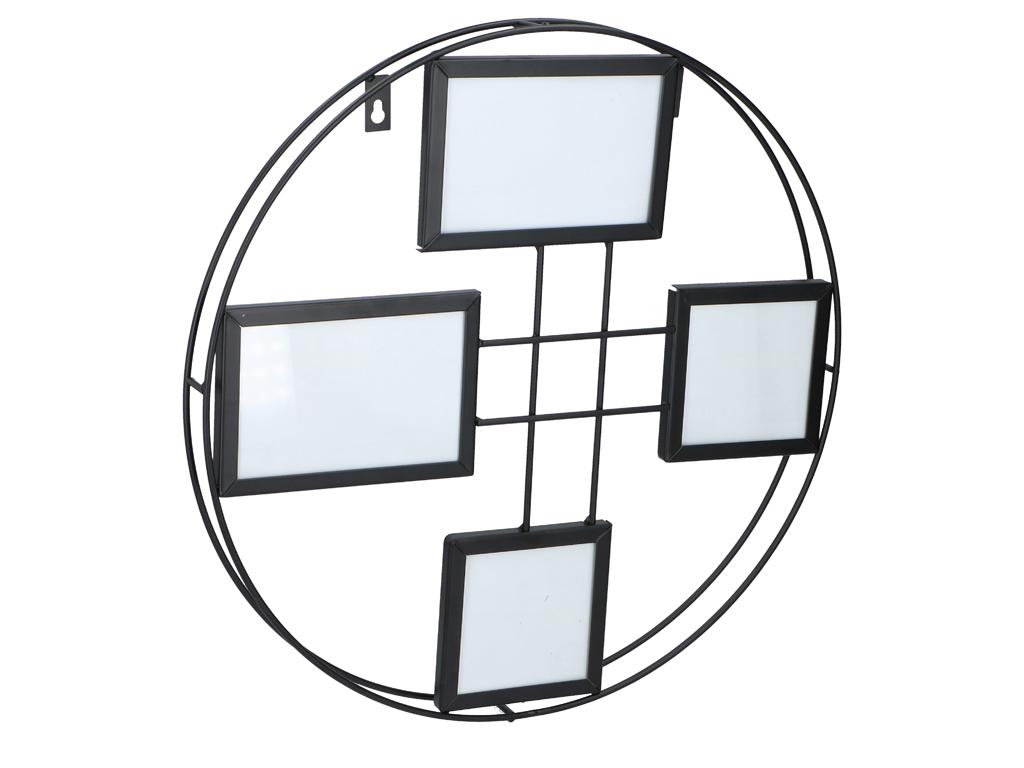 Μεταλλική πολυκορνίζα τοίχου για 4 φωτογραφίες σε στρογγυλή μεταλλική κατασκευή, διαστάσεων 40x40x3.5, ArtiCasa - Arti Casa